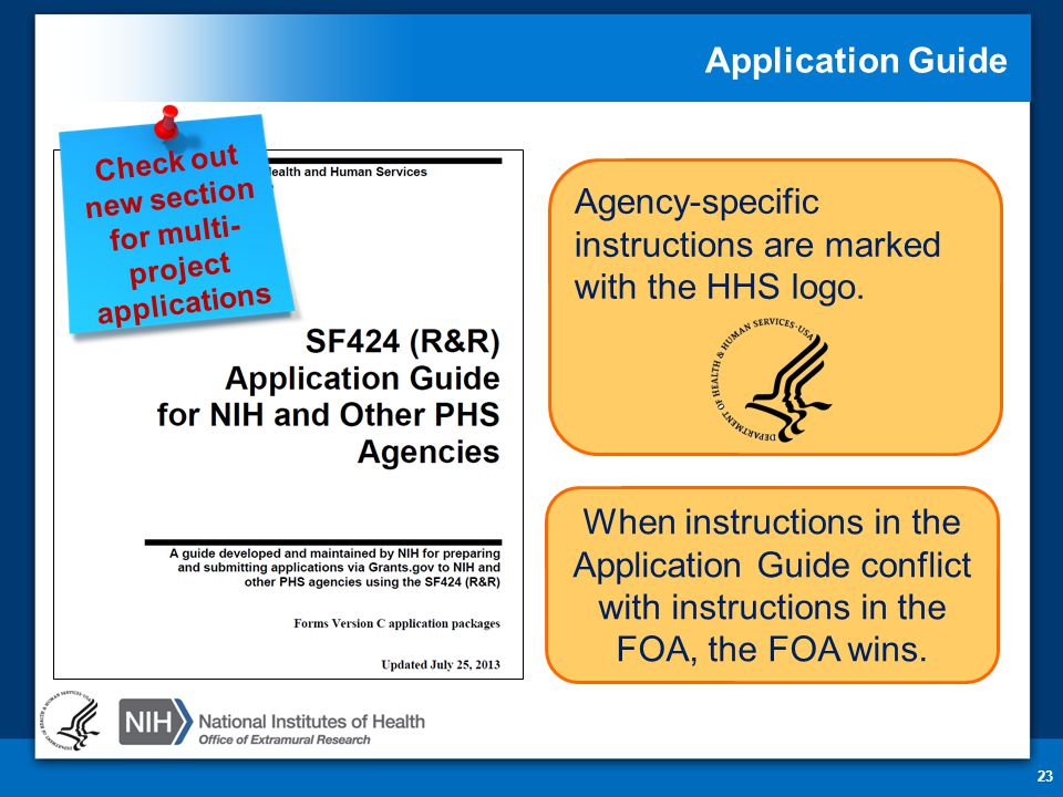 Application Guide 23 Agency-specific instructions are marked with the HHS logo.