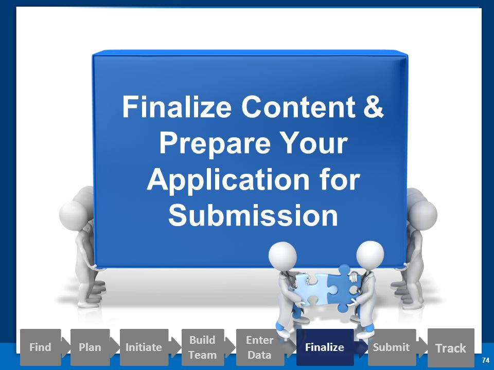 74 Finalize Content & Prepare Your Application for Submission Track Find PlanInitiate Build Team Enter Data FinalizeSubmit