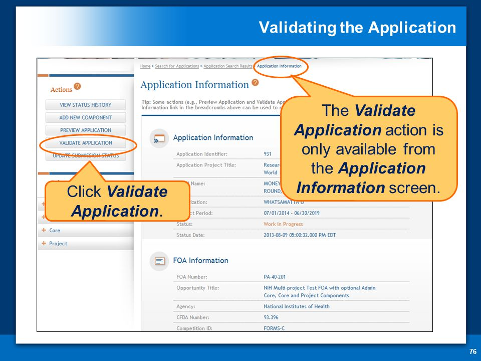 Validating the Application 76 The Validate Application action is only available from the Application Information screen.