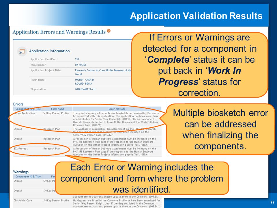 Application Validation Results 77 If Errors or Warnings are detected for a component in 'Complete' status it can be put back in 'Work In Progress' status for correction.