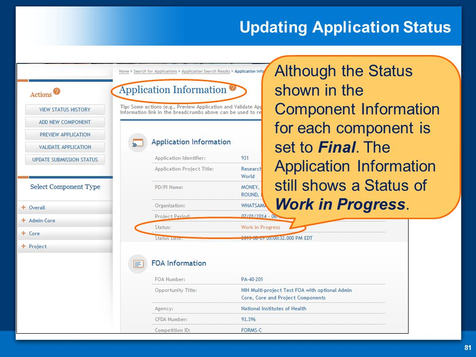 Updating Application Status 81 Although the Status shown in the Component Information for each component is set to Final.