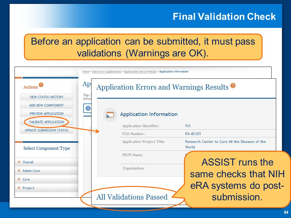 Final Validation Check 84 Before an application can be submitted, it must pass validations (Warnings are OK).