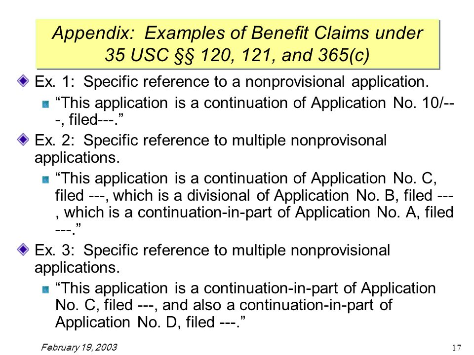 February 19, Ex. 1: Specific reference to a nonprovisional application.