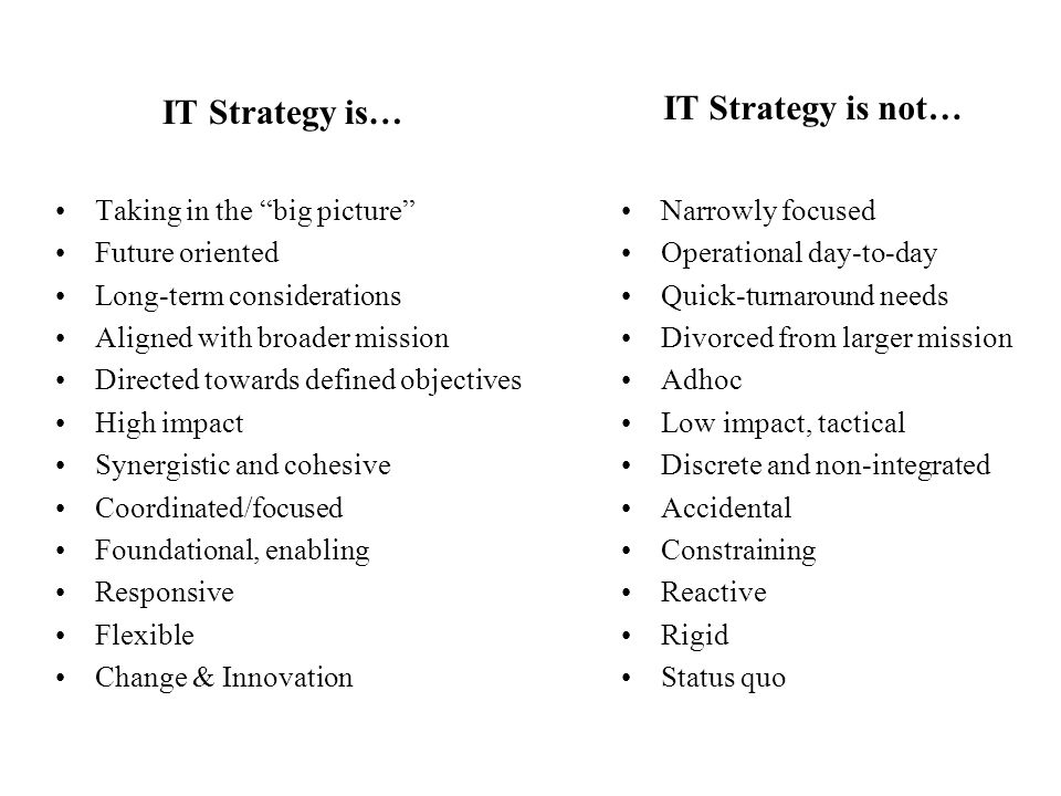 """IT Strategy is… Taking in the """"big picture"""" Future oriented Long-term considerations Aligned with broader mission Directed towards defined objectives"""
