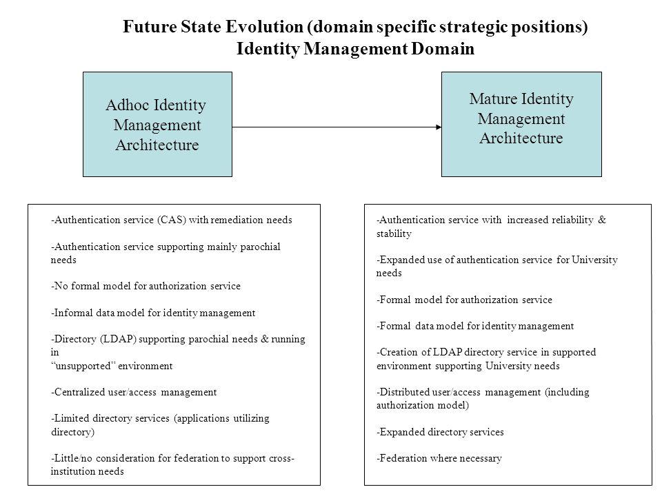 Adhoc Identity Management Architecture Mature Identity Management Architecture Future State Evolution (domain specific strategic positions) Identity M