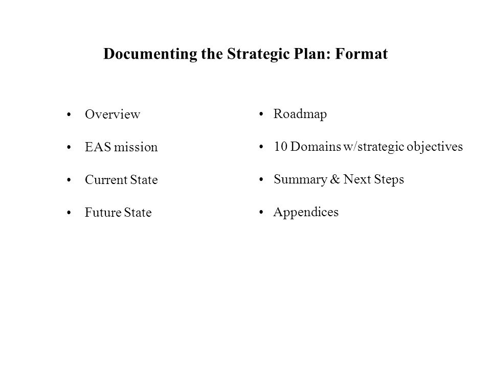 Documenting the Strategic Plan: Format Overview EAS mission Current State Future State Roadmap 10 Domains w/strategic objectives Summary & Next Steps