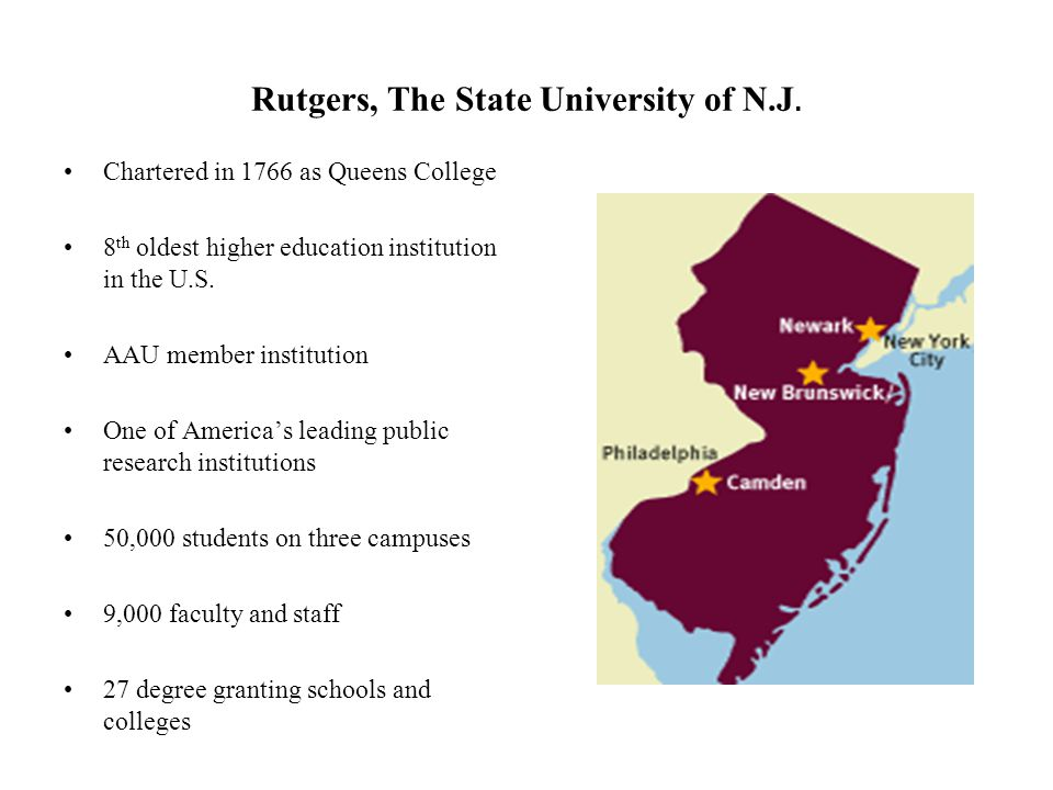 Rutgers, The State University of N.J. Chartered in 1766 as Queens College 8 th oldest higher education institution in the U.S. AAU member institution