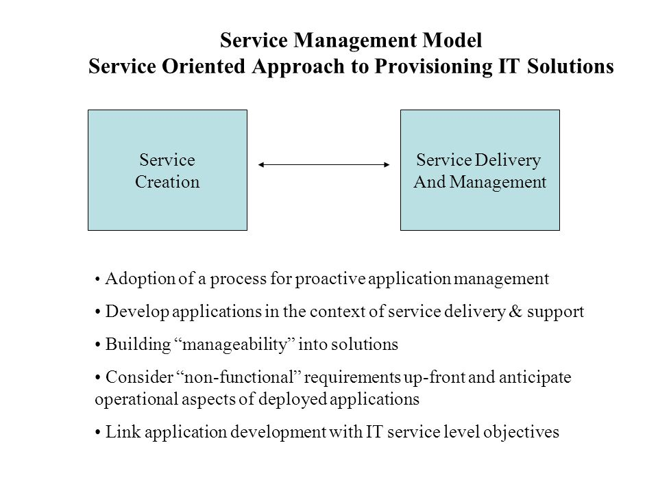 Service Management Model Service Oriented Approach to Provisioning IT Solutions Service Creation Service Delivery And Management Adoption of a process