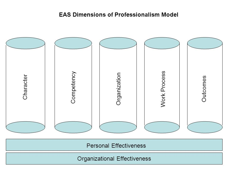 EAS Dimensions of Professionalism Model Personal Effectiveness Organizational Effectiveness Character Competency Organization Work Process Outcomes
