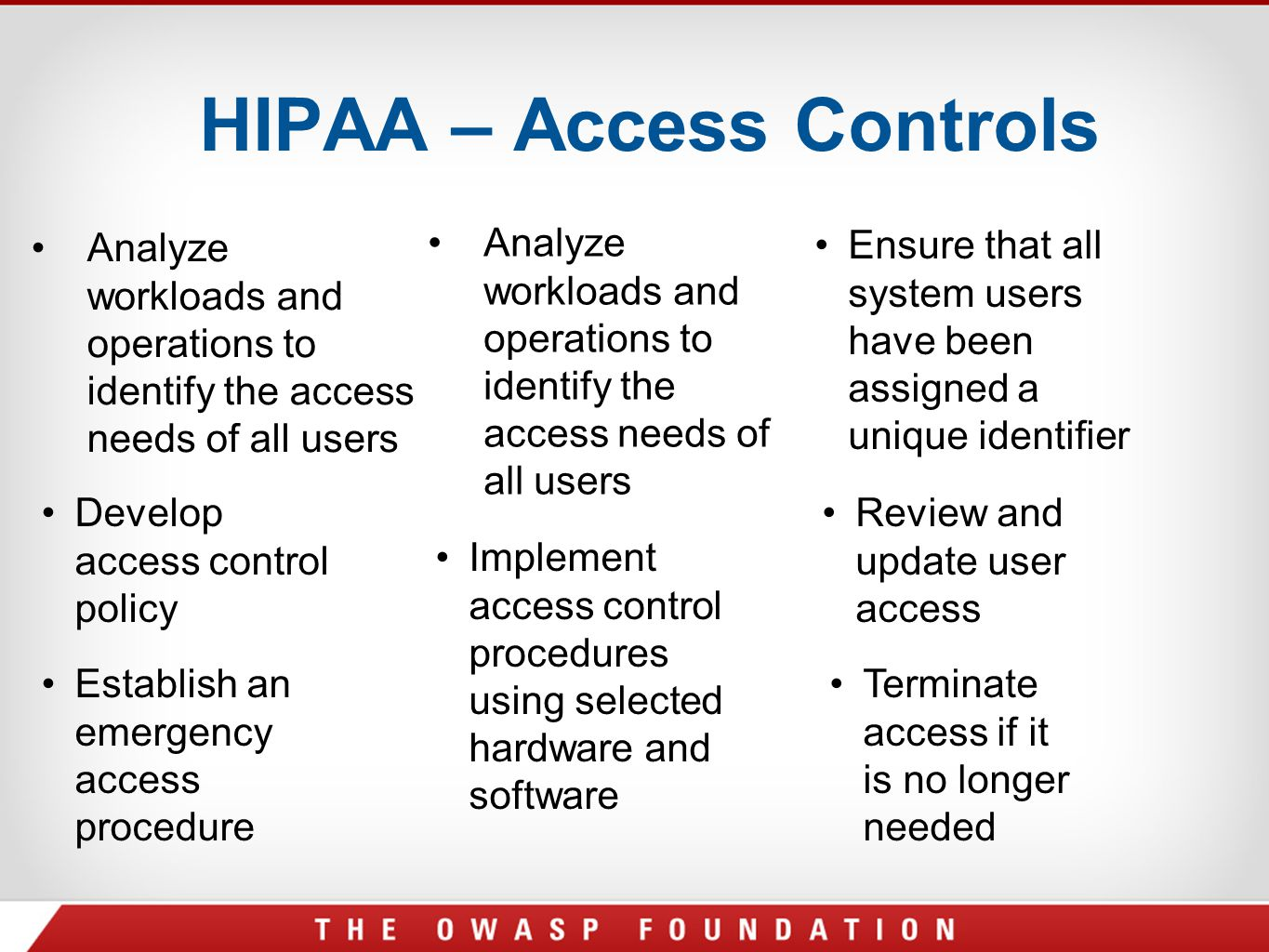 HIPAA – Access Controls Analyze workloads and operations to identify the access needs of all users Ensure that all system users have been assigned a u