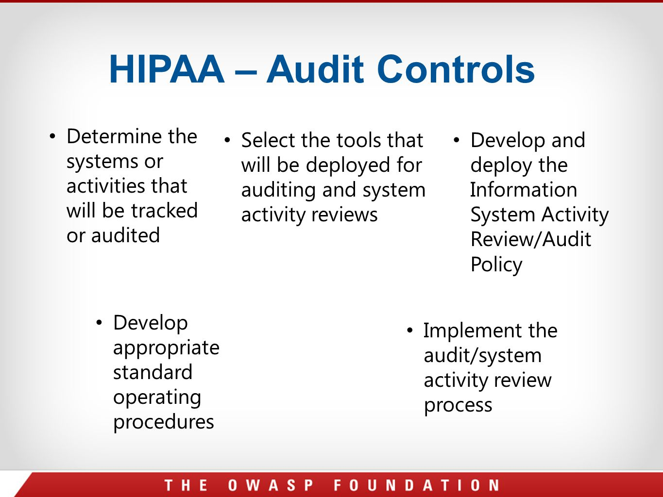 HIPAA – Audit Controls Determine the systems or activities that will be tracked or audited Select the tools that will be deployed for auditing and sys