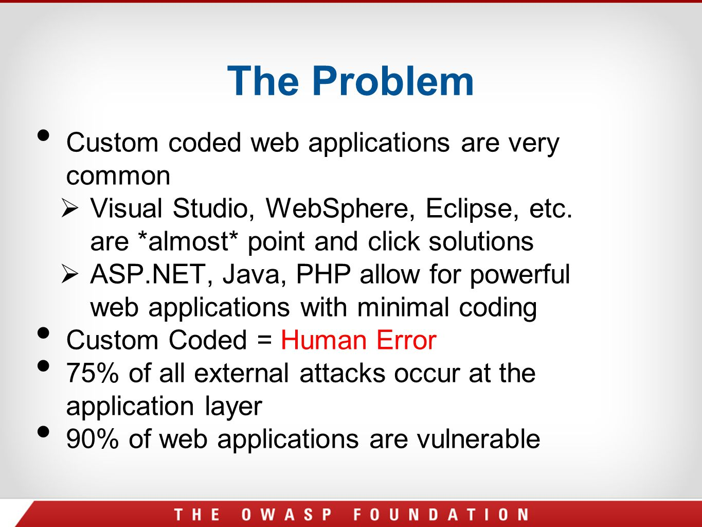 The Problem Custom coded web applications are very common  Visual Studio, WebSphere, Eclipse, etc. are *almost* point and click solutions  ASP.NET,