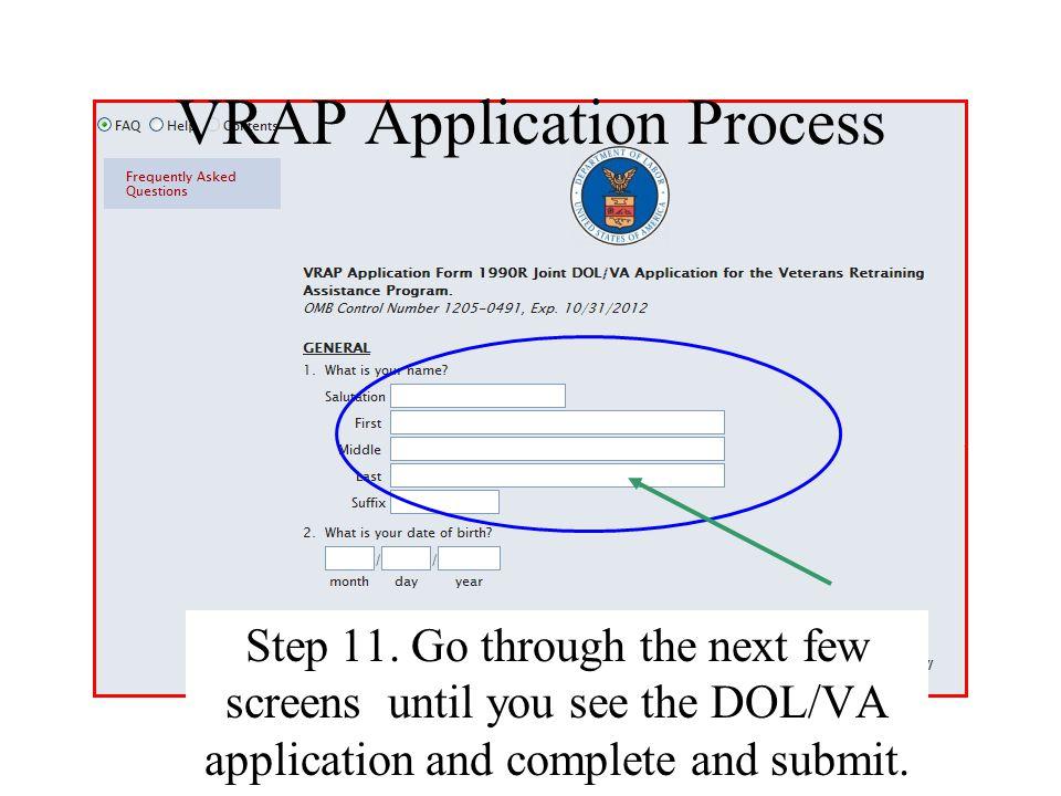 VRAP Application Process Step 11.