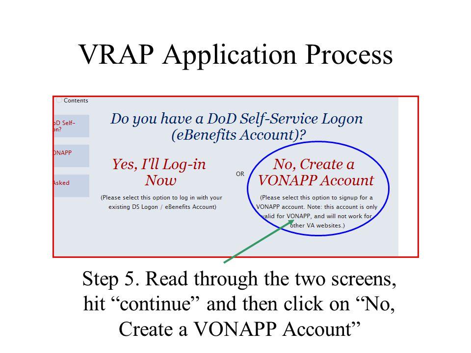 VRAP Application Process Step 5.