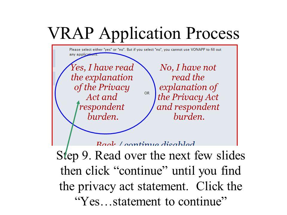 VRAP Application Process Step 9.