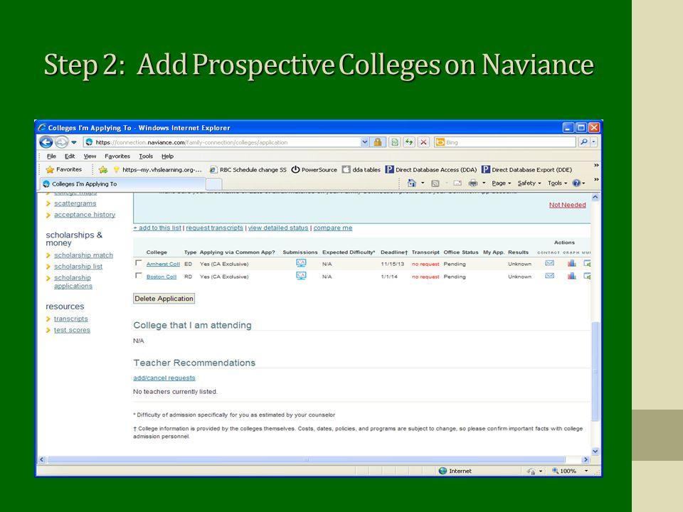 Step 2: Add Prospective Colleges on Naviance