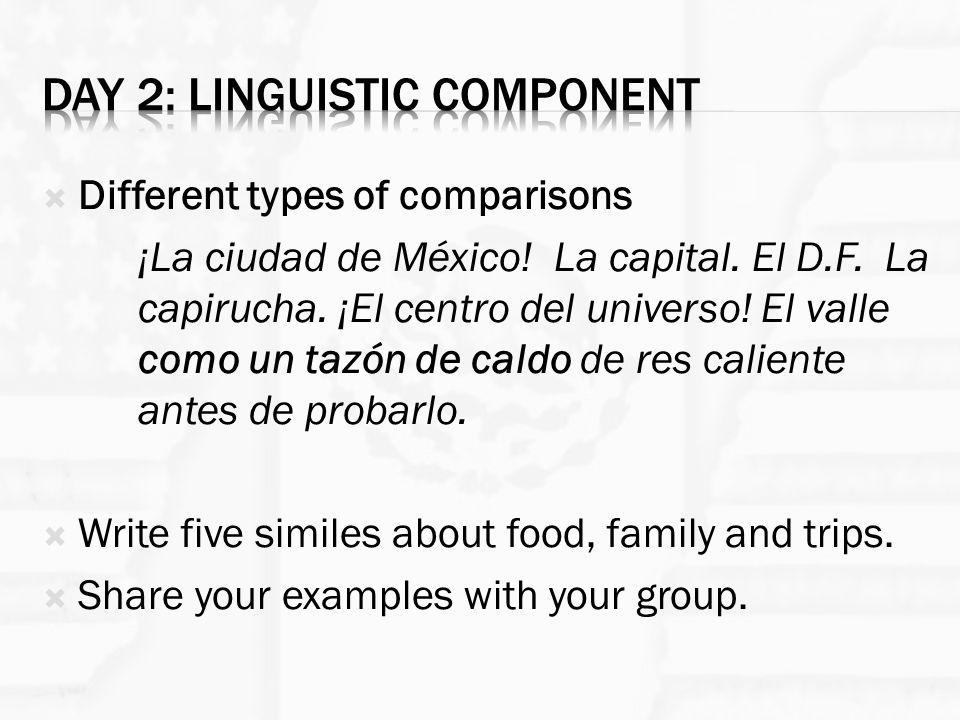  Different types of comparisons ¡La ciudad de México! La capital. El D.F. La capirucha. ¡El centro del universo! El valle como un tazón de caldo de r
