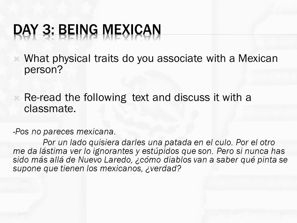  What physical traits do you associate with a Mexican person.