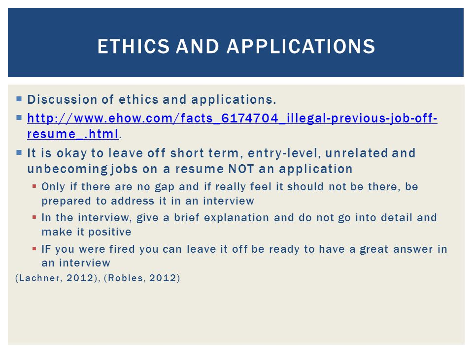  Discussion of ethics and applications.