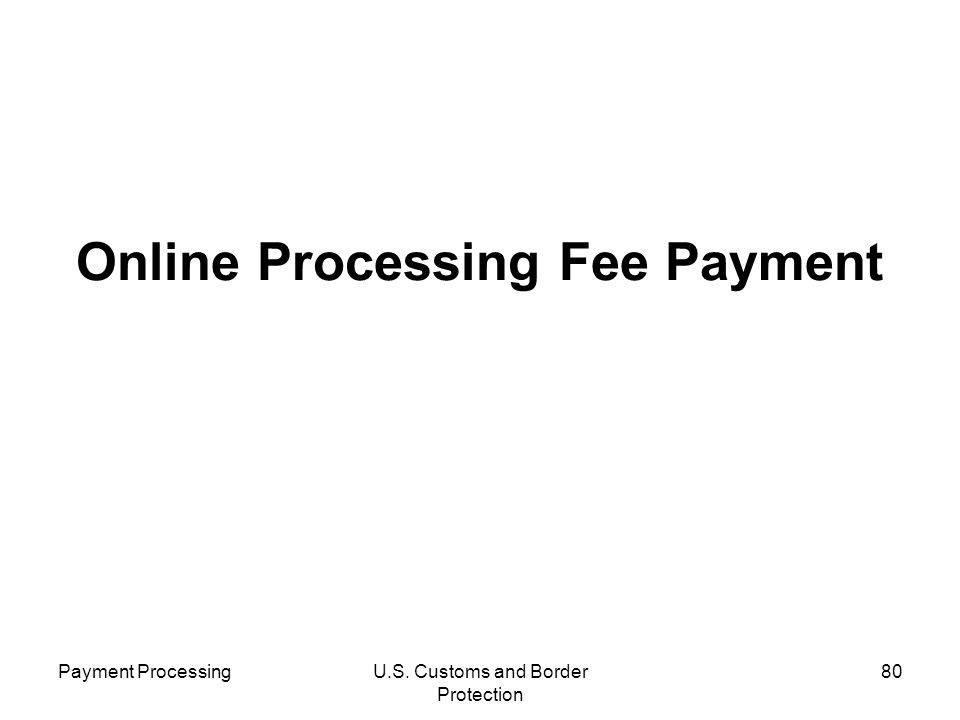 Payment ProcessingU.S. Customs and Border Protection 80 Online Processing Fee Payment