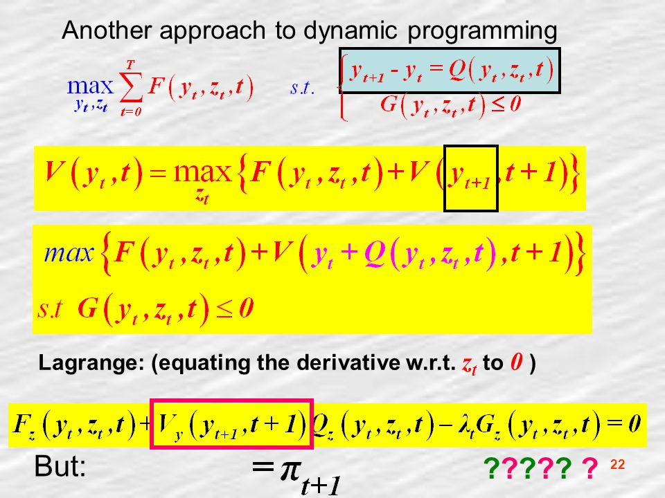 22 Another approach to dynamic programming Lagrange: (equating the derivative w.r.t.