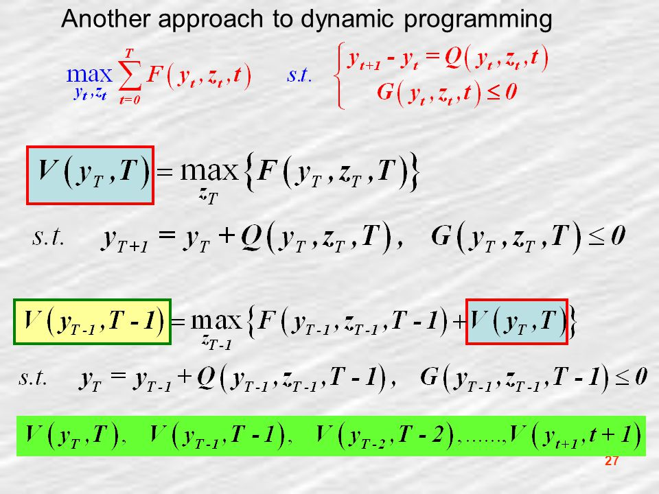 27 Another approach to dynamic programming