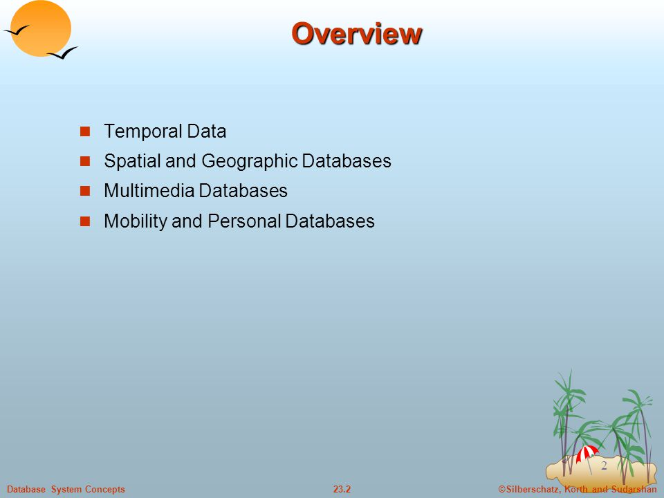 ©Silberschatz, Korth and Sudarshan23.2Database System Concepts 2Overview Temporal Data Spatial and Geographic Databases Multimedia Databases Mobility and Personal Databases