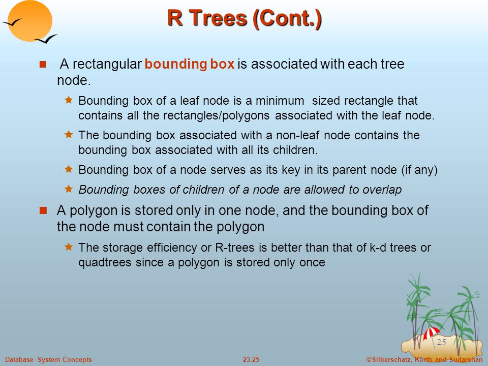 ©Silberschatz, Korth and Sudarshan23.25Database System Concepts 25 R Trees (Cont.) A rectangular bounding box is associated with each tree node.