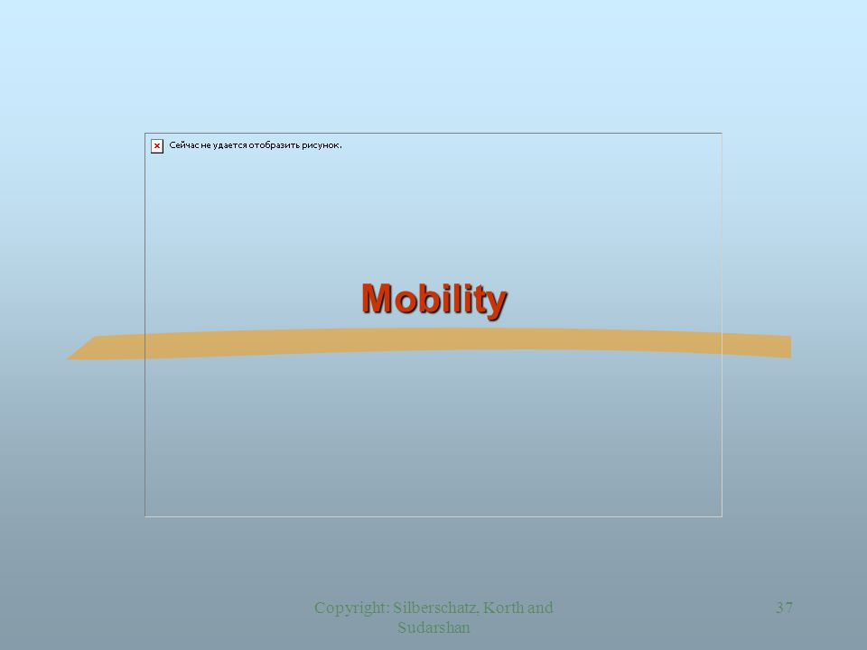 Copyright: Silberschatz, Korth and Sudarshan 37 Mobility