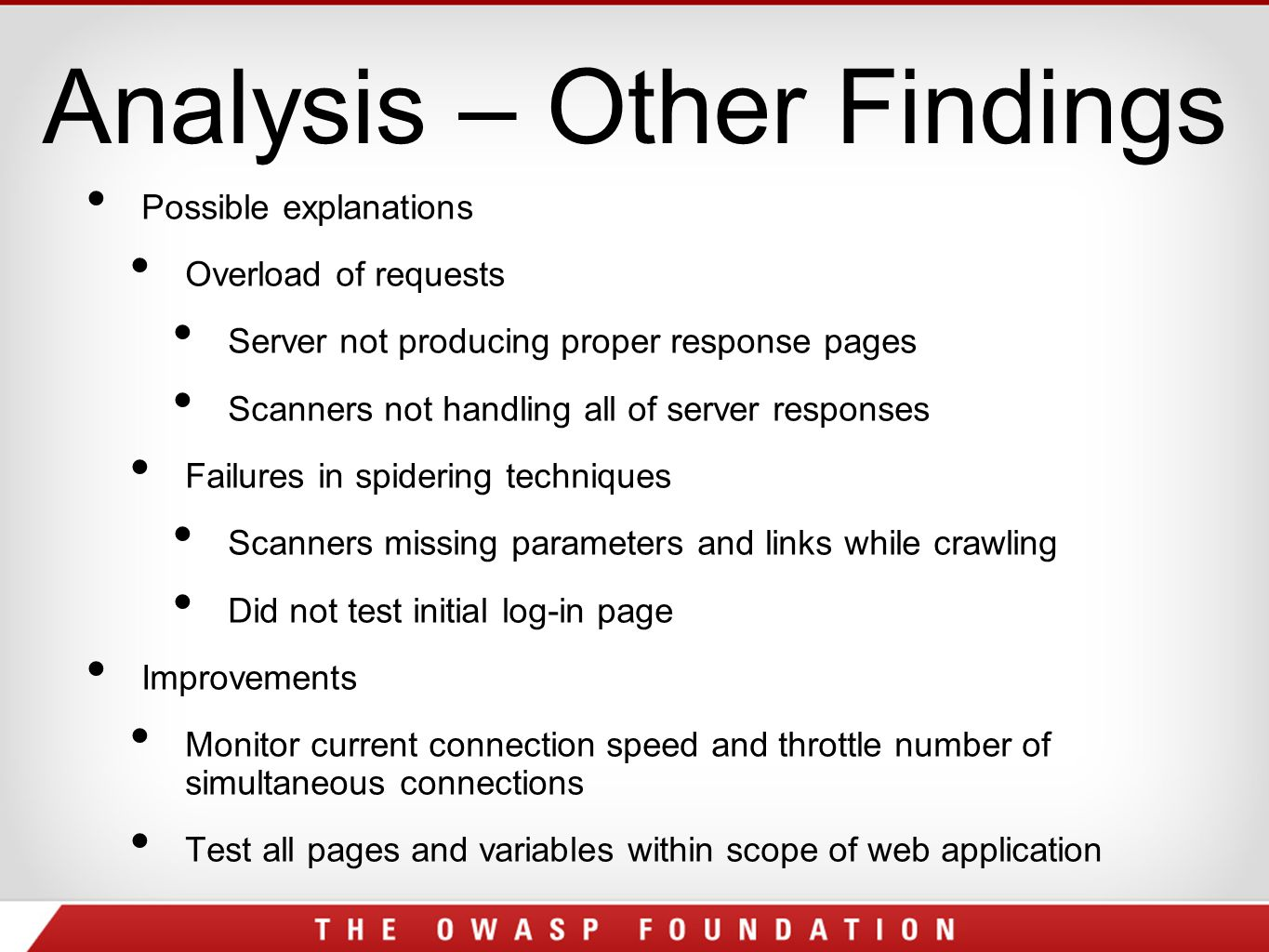 Analysis – Other Findings Possible explanations Overload of requests Server not producing proper response pages Scanners not handling all of server responses Failures in spidering techniques Scanners missing parameters and links while crawling Did not test initial log-in page Improvements Monitor current connection speed and throttle number of simultaneous connections Test all pages and variables within scope of web application