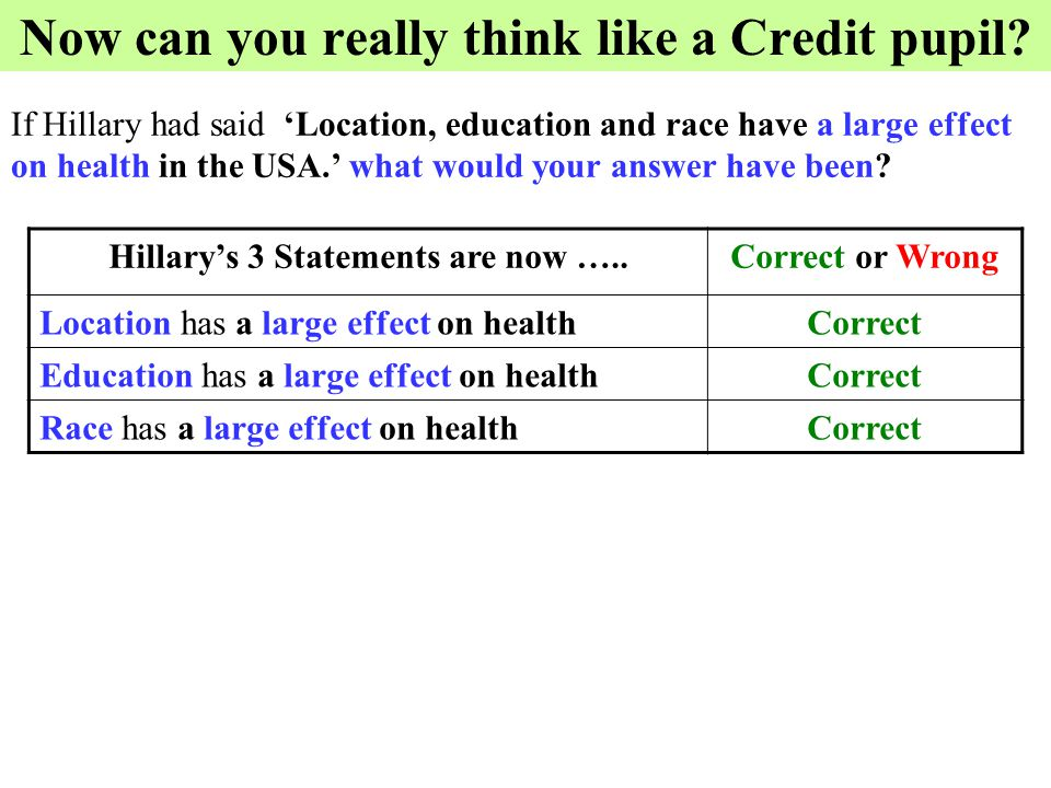 Now can you really think like a Credit pupil? If Hillary had said 'Location, education and race have a large effect on health in the USA.' what would
