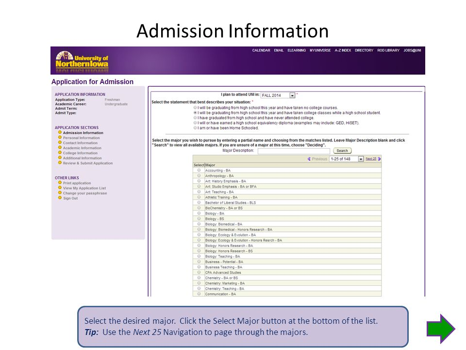 Admission Information Select the desired major.