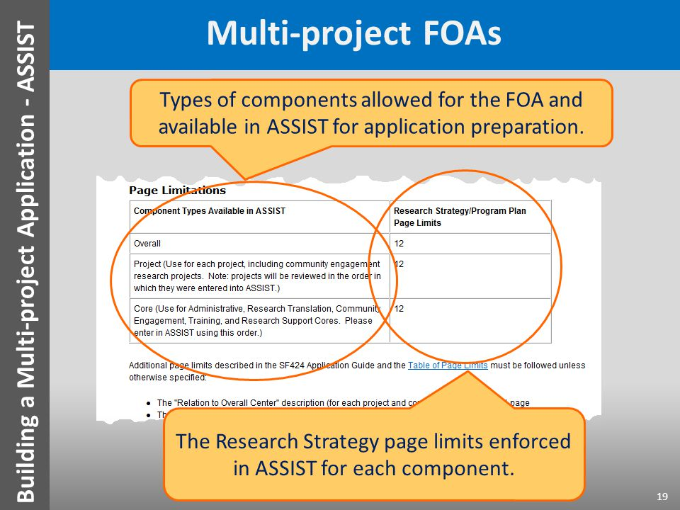Multi-project FOAs 19 Types of components allowed for the FOA and available in ASSIST for application preparation. The Research Strategy page limits e