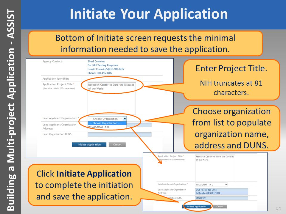 Initiate Your Application Enter Project Title.NIH truncates at 81 characters.