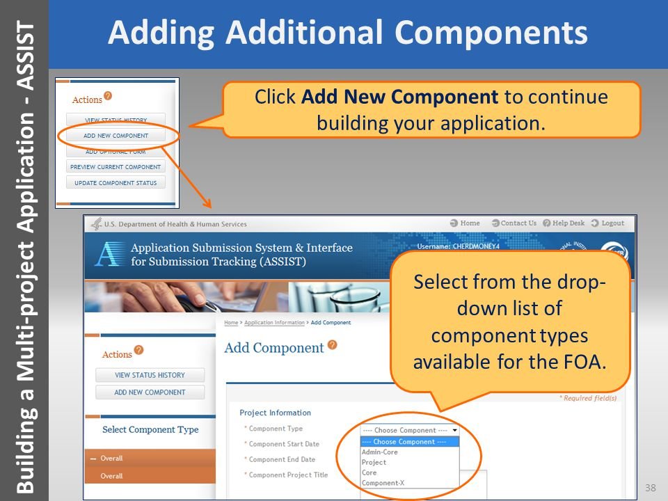 Adding Additional Components Click Add New Component to continue building your application.