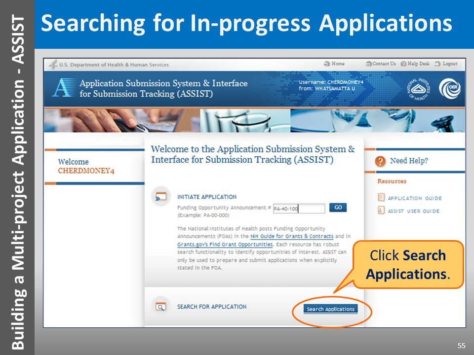 Searching for In-progress Applications Click Search Applications.