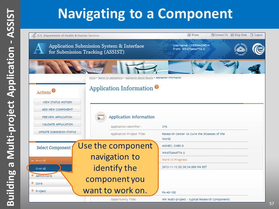 Navigating to a Component Use the component navigation to identify the component you want to work on. 57 Building a Multi-project Application - ASSIST