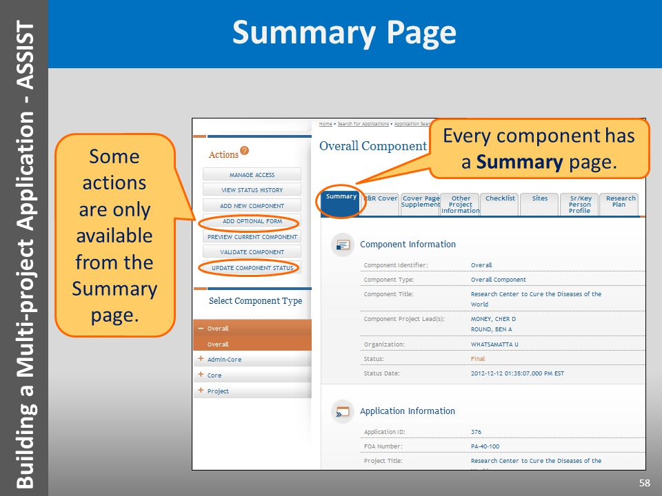 Summary Page Every component has a Summary page. Some actions are only available from the Summary page. 58 Building a Multi-project Application - ASSI