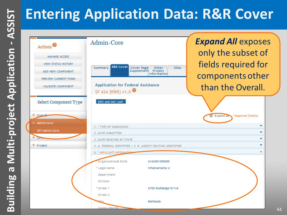 Entering Application Data: R&R Cover Expand All exposes only the subset of fields required for components other than the Overall.
