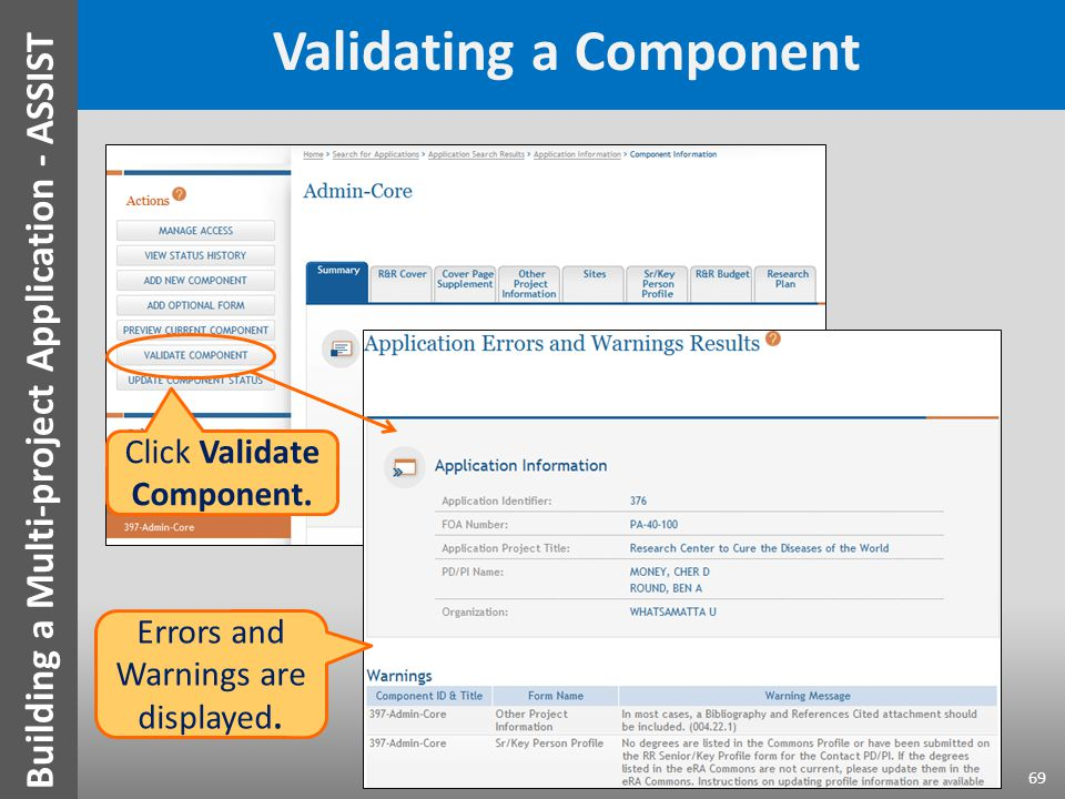 Validating a Component Click Validate Component.