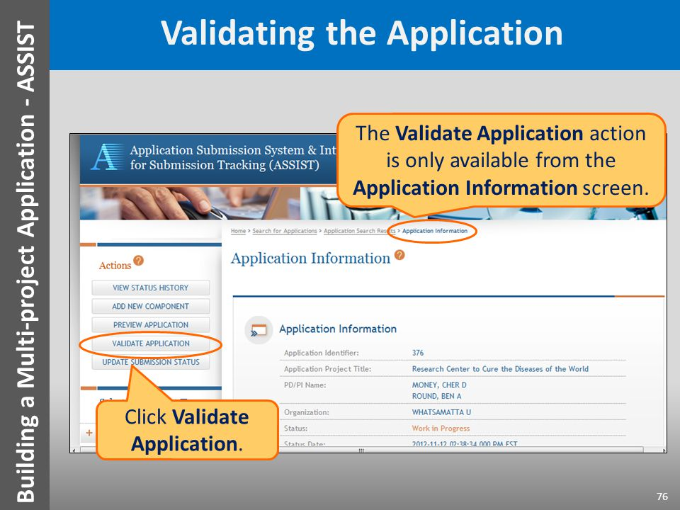 Validating the Application The Validate Application action is only available from the Application Information screen.