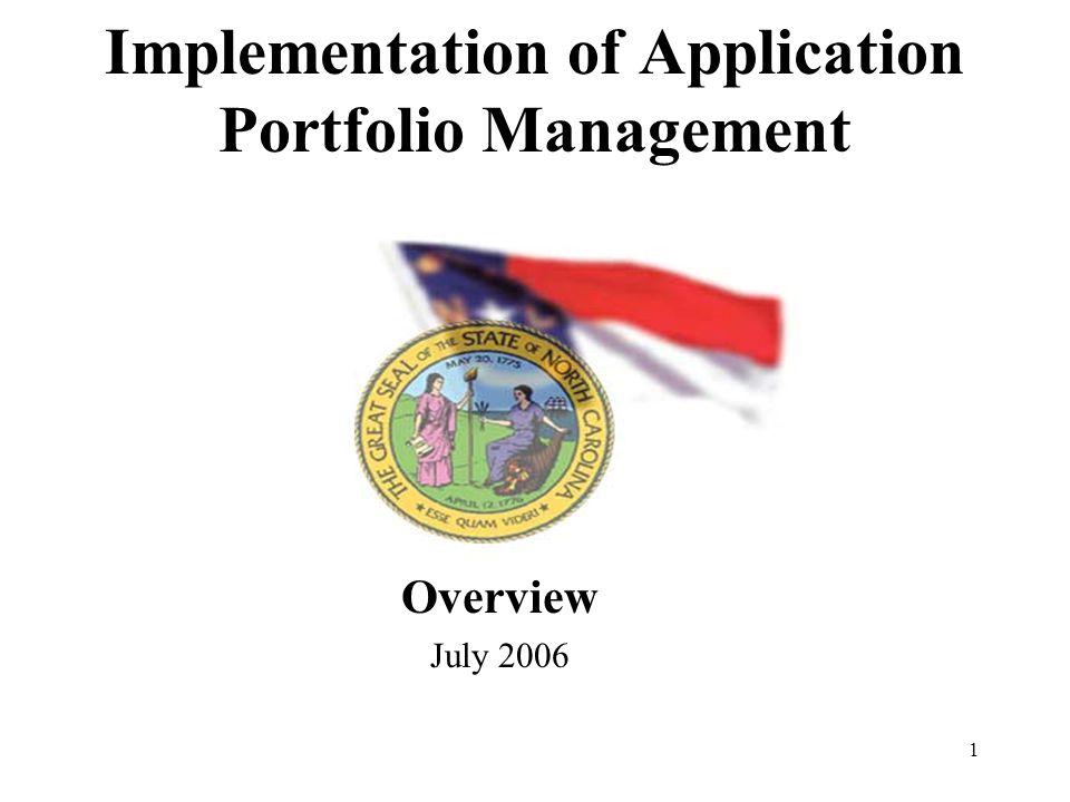 1 Implementation of Application Portfolio Management Overview July 2006