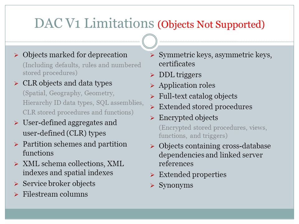 DAC V1 Limitations (Objects Not Supported)  Objects marked for deprecation (Including defaults, rules and numbered stored procedures)  CLR objects and data types (Spatial, Geography, Geometry, Hierarchy ID data types, SQL assemblies, CLR stored procedures and functions)  User-defined aggregates and user-defined (CLR) types  Partition schemes and partition functions  XML schema collections, XML indexes and spatial indexes  Service broker objects  Filestream columns  Symmetric keys, asymmetric keys, certificates  DDL triggers  Application roles  Full-text catalog objects  Extended stored procedures  Encrypted objects (Encrypted stored procedures, views, functions, and triggers)  Objects containing cross-database dependencies and linked server references  Extended properties  Synonyms