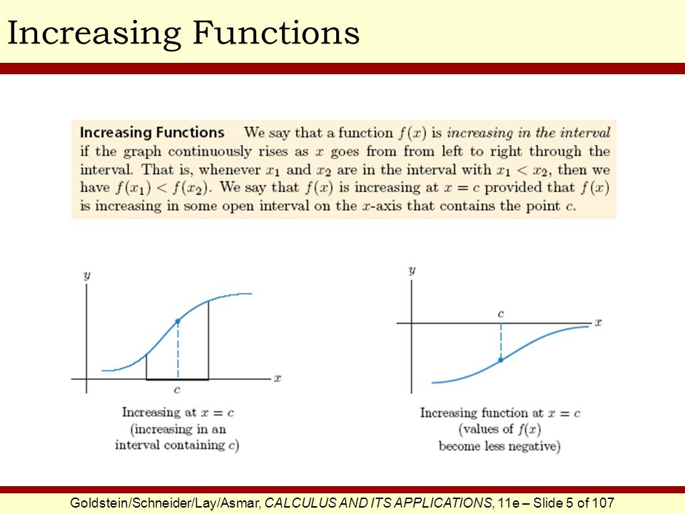 Goldstein/Schneider/Lay/Asmar, CALCULUS AND ITS APPLICATIONS, 11e – Slide 5 of 107 Increasing Functions