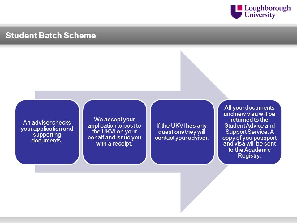 An adviser checks your application and supporting documents. We accept your application to post to the UKVI on your behalf and issue you with a receip