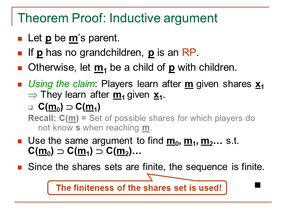 Let p be m's parent. If p has no grandchildren, p is an RP. Otherwise, let m 1 be a child of p with children. Using the claim: Players learn after m g