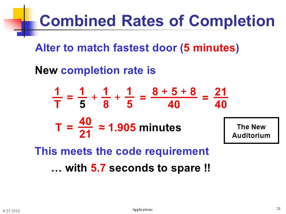 6/25/2013 Applications 26 Combined Rates of Completion Alter to match fastest door (5 minutes) 1 T 8 + 5 + 8 40 = 21 40 = ≈ 1.905 minutes … with 5.7 seconds to spare !.