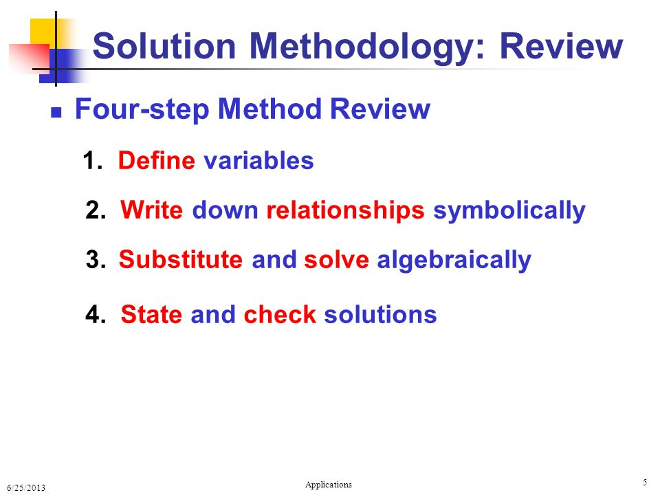6/25/2013 Applications 5 Four-step Method Review 1.