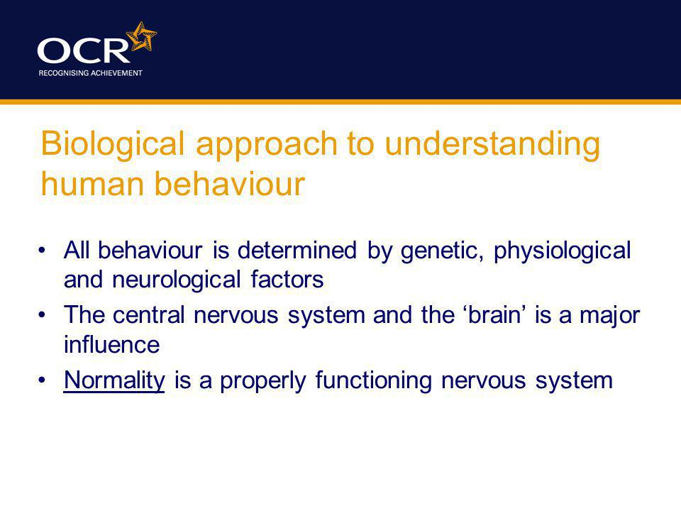 Biological approach to understanding human behaviour All behaviour is determined by genetic, physiological and neurological factors The central nervou
