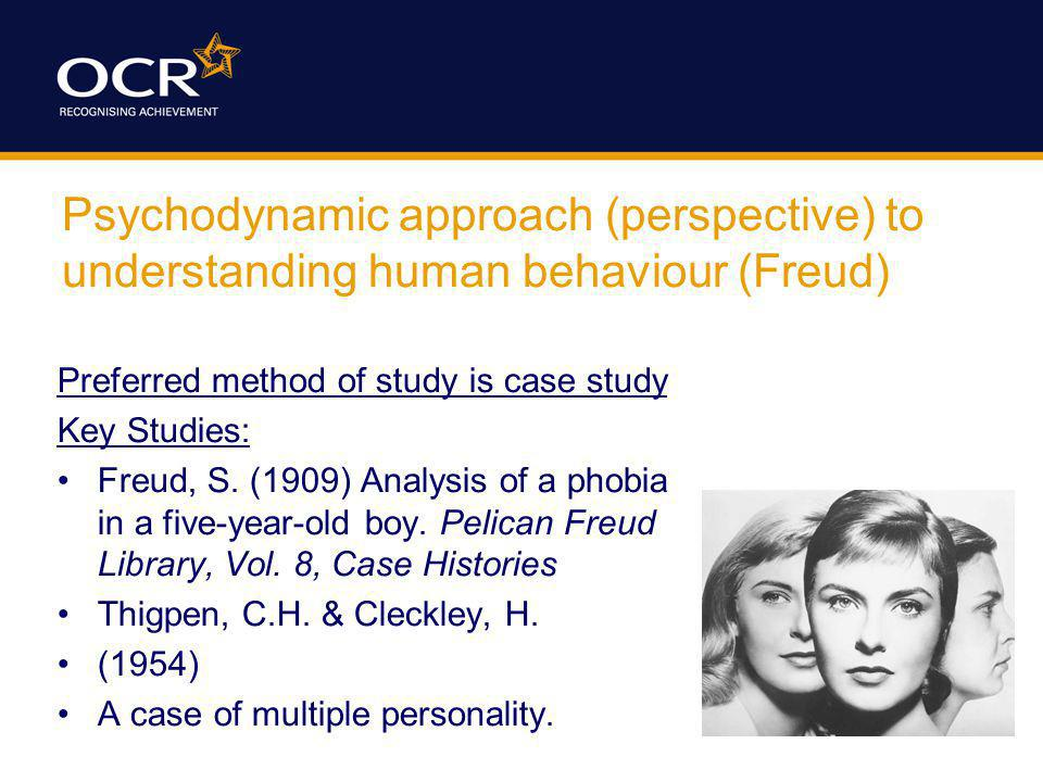 Psychodynamic approach (perspective) to understanding human behaviour (Freud) Preferred method of study is case study Key Studies: Freud, S. (1909) An